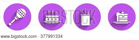 Set Maracas, Cake With Burning Candles, Mulled Wine And Cake Icon With Long Shadow. Vector