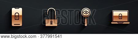Set Mobile With Closed Padlock, Open Padlock, Magnifying Glass Search And Laptop And Lock Icon With