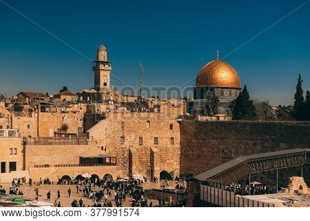 Jerusalem Western Wall. Cityscape Image Of Jerusalem. View Of Prayers, Wishes And Prays. Dome Of The