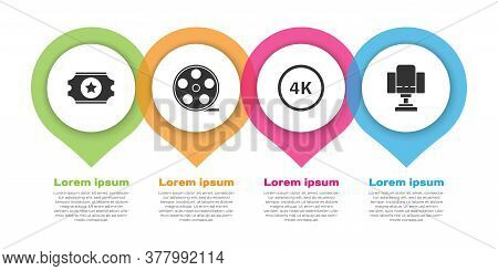 Set Cinema Ticket, Film Reel, 4k Ultra Hd And Director Movie Chair. Business Infographic Template. V
