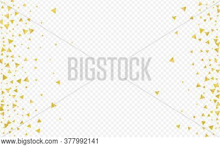 Yellow Shine Christmas Transparent Background. Anniversary Glow Card. Gold Triangle Paper Banner. Sh