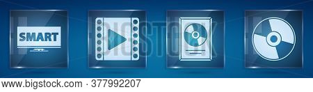 Set Screen Tv With Smart Video, Play Video, Cd Disk Award In Frame And Cd Or Dvd Disk. Square Glass