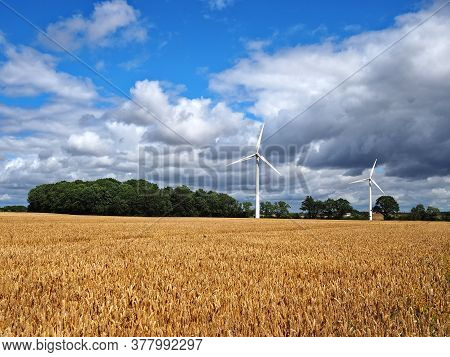 Alternative Clean Environmental Friendly Energy By Windmills For Production Of Electricity Funen Den