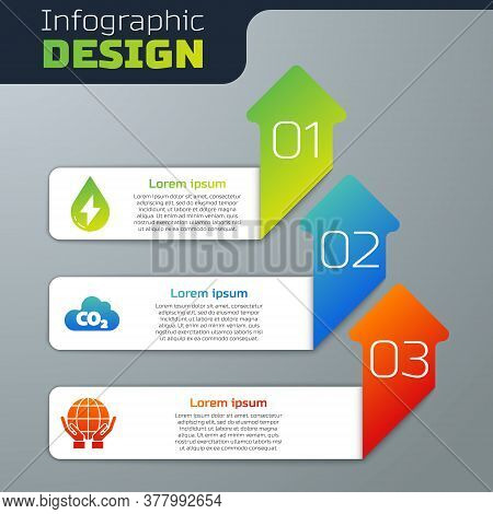 Set Water Energy, Co2 Emissions In Cloud And Hands Holding Earth Globe. Business Infographic Templat