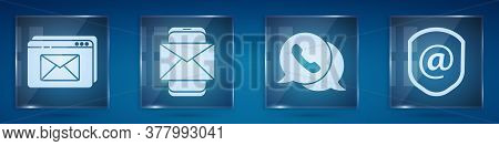 Set Website And Envelope, Mobile And Envelope, Telephone With Speech Bubble Chat And Shield With Mai