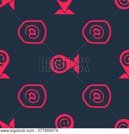 Set Shield With Mail And E-mail And Location And Mail And E-mail On Seamless Pattern. Vector