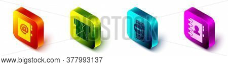 Set Isometric Address Book, Envelope, Chat Messages Notification On Phone And Address Book Icon. Vec