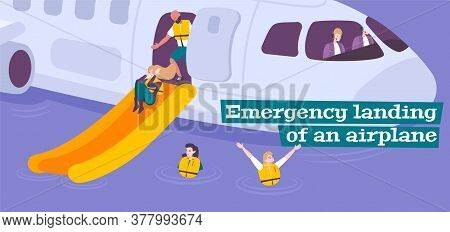 Emergency Landing Flat Background With Steward Providing Evacuation Of Passengers In Life Jackets Fr