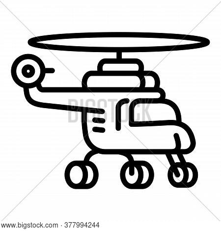 Flight Helicopter Icon. Outline Flight Helicopter Vector Icon For Web Design Isolated On White Backg