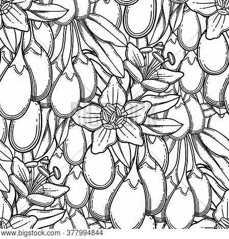 Seamless Pattern Of Graphic Goji Berries, Flowers And Leaves.