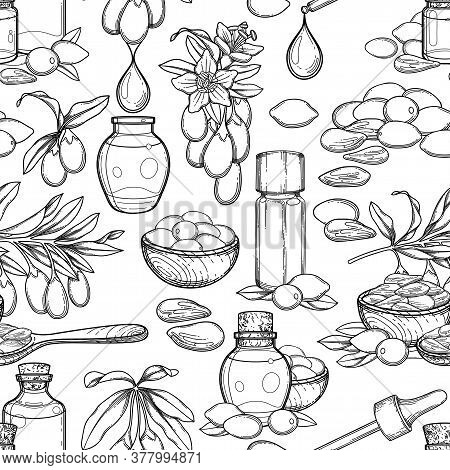 Seamless Pattern Of Graphic Essential Oils Decorated With Goji Berries, Flowers And Leaves