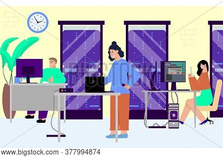 It Specialist Office Flat Composition With Programming Company Office Scenery With Computer Workplac