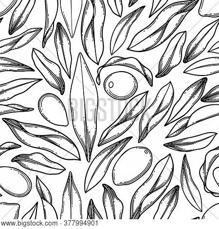 Seamless Pattern Of Graphic Goji Berries And Leaves.
