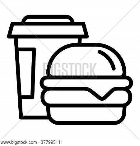 Burger Coffee Cup Icon. Outline Burger Coffee Cup Vector Icon For Web Design Isolated On White Backg