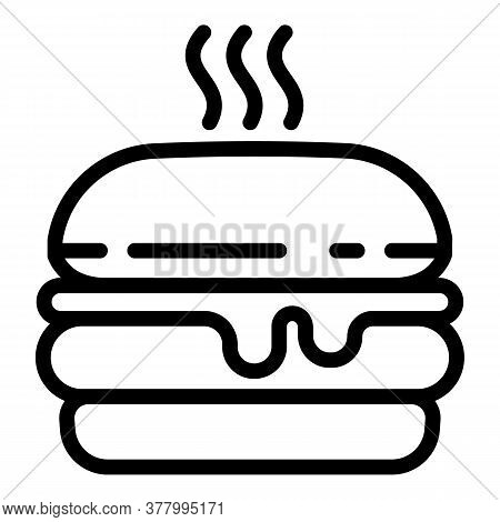 Hot Burger Icon. Outline Hot Burger Vector Icon For Web Design Isolated On White Background