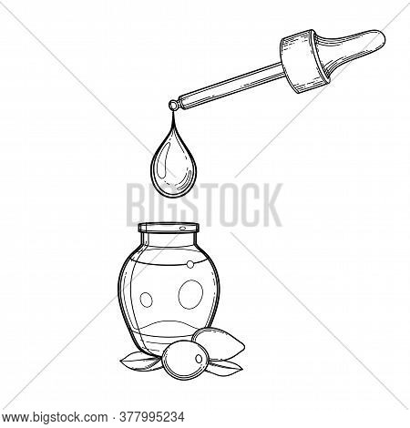 Graphic Oil Drop Dripping From The Dropper Inside The Glass Bottle Decorated With Goji Leaves And Be