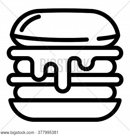 Cheese Burger Icon. Outline Cheese Burger Vector Icon For Web Design Isolated On White Background