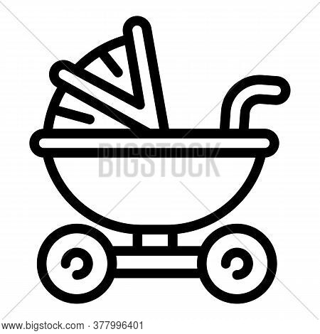Pram Icon. Outline Pram Vector Icon For Web Design Isolated On White Background