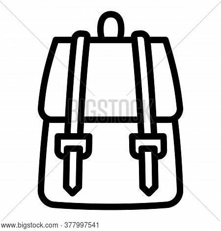 Textile Backpack Icon. Outline Textile Backpack Vector Icon For Web Design Isolated On White Backgro