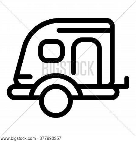 Caravan Trailer Icon. Outline Caravan Trailer Vector Icon For Web Design Isolated On White Backgroun
