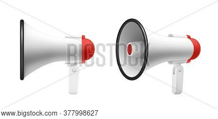 Megaphone Speaker Or Loudspeaker Bullhorn, Realistic 3d Illustration, Mockup. Modern Isolated Megaph
