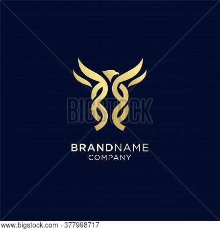 Eagle Abstract Logo Design Vector Template Linear Style. Hawk Lineart Icon. Falcon Outline Loop Jewe