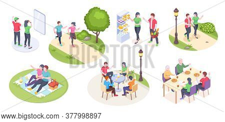 Couple Daily Life And Outdoor Leisure Activity, Isometric Man And Woman Time Together. Couple Daily
