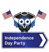 Comical Independence Day party sign isolated on white background poster
