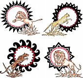 Totems - lions and leopards with solar signs. Set of vector illustrations. poster