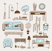 Set of vector icons for living room poster