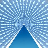 tunnel with luminous arrows blue color specifying a way forward to an ultimate goal, to success poster