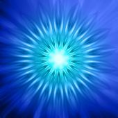abstract neon rays lights in circles over blue background poster