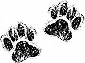 a set of two black dog paws poster