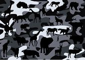 vector illustration of camouflage background with animals poster