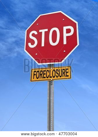 Conceptual Stop Sign With Word Foreclosure