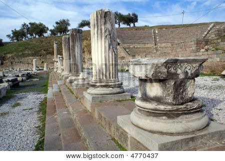 Ruins and theater in Asklepion Bergama Turkey poster