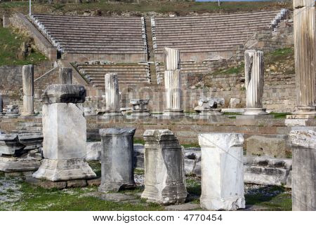 Theater and ruins of Asklepion in Bergama Turkey poster