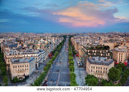 View on Avenue des Champs-Elysees from Arc de Triomphe at sunset, Paris, France