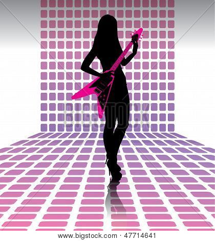 Sexy woman guitarist