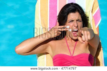 Sunbathing Challenge On Summer In Pool