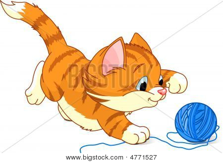 Image of kitten playing with a ball of yarn poster