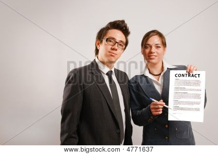 Business Partners Showing Contract