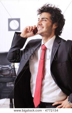 Businessman Uses Telephon