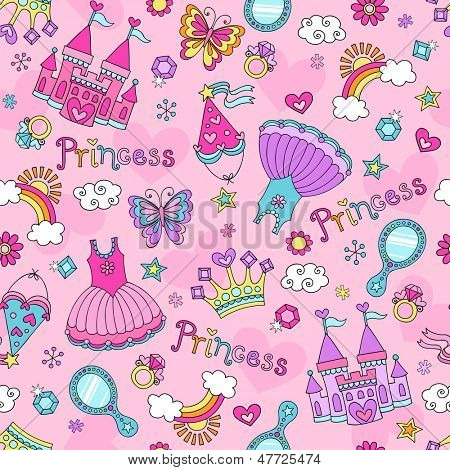 Princess Seamless Pattern Ballerina Tiara Groovy Fairy Tale Notebook Doodles Set with Tutu Dress, Castle, Crown, Magic Wand and more