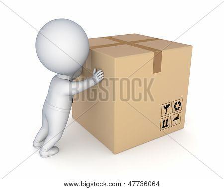3d small person and big carton box.
