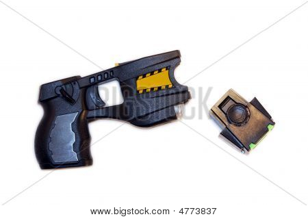 A common stun gun used by law enforcement isolated on a white background. poster