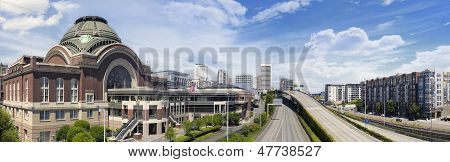 Freeways to City of Tacoma Washington with Union Station Federal Courthouse with Blue Sky and Clouds Panorama poster