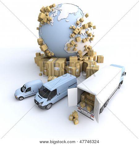 Unloading truck in an international transportation context