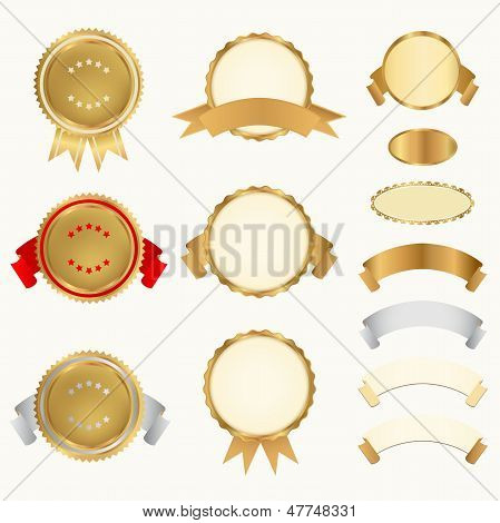 Vector set: Golden and silver Awards with ribbons (icons). Sign of winner