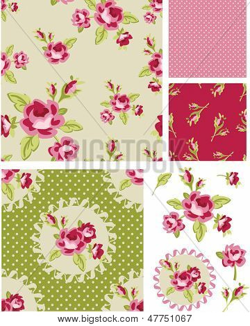 New Rose Floral Vector Seamless Patterns. Use as fills, digital paper, or print off onto fabric to create unique items.